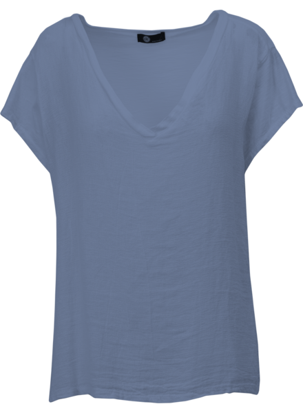 M MADE IN ITALY M MADE IN ITALY T-SHIRT COTON-LIN BLEU DENIM