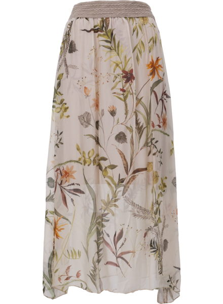 M MADE IN ITALY M MADE IN ITALY JUPE DOUBLÉ VOILE FLEURS BEIGE