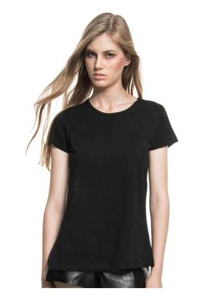 T-SHIRT COTTON FRONT BACK CROSSED CLOTH BLACK