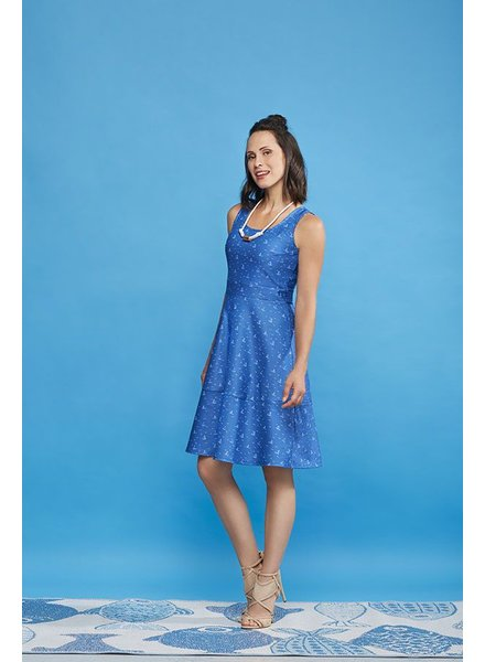 CHERRY BOBIN CHERRY BOBIN RIVERSIDE DRESS VOILIER BLUE
