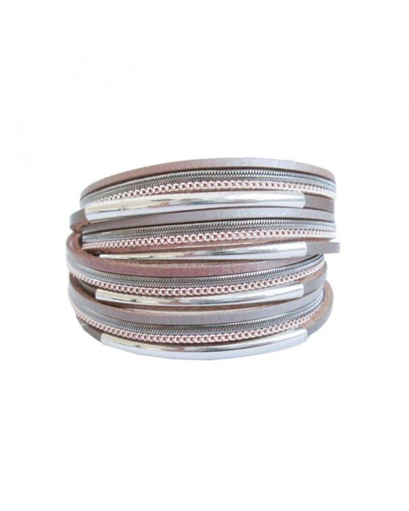 CARACOL CARACOL BRACELET MANY RANKS LEATHER METAL PINK