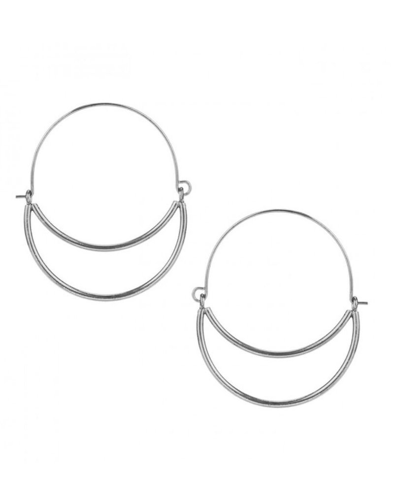 CARACOL CARACOL EARRINGS DOUBLE RING SILVER