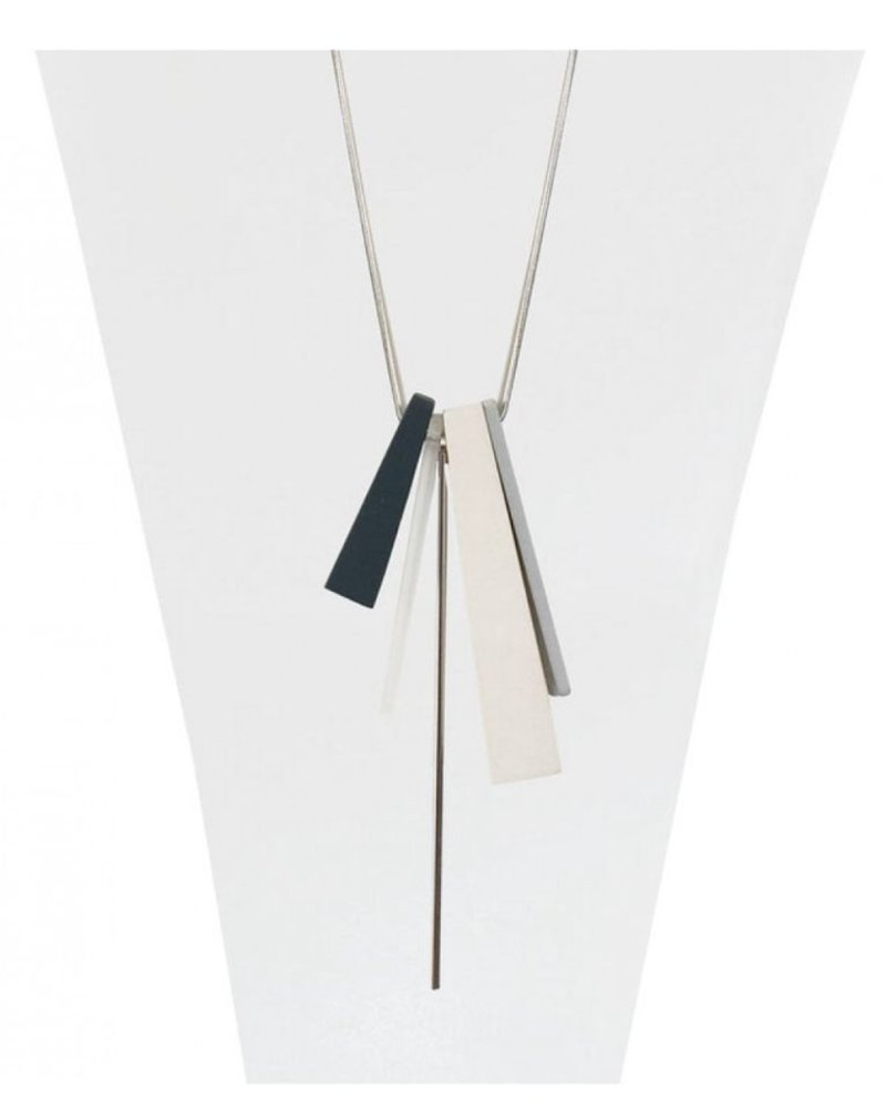 CARACOL CARACOL LONG NECKLACE PENDANT  WOOD WHITE
