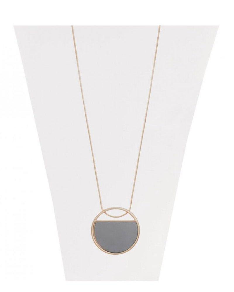 CARACOL CARACOL LONG NECKLACE PENDANT CIRCLE GOLD