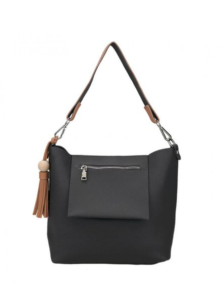 CARACOL CARACOL HAND BAG  EXTERIEUR  POCKET AND POMPON BLACK