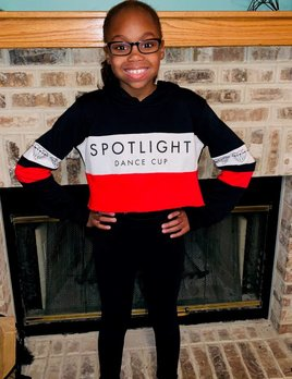 YOUTH RED, WHITE & BLACK SPOTLIGHT CROP HOODIE