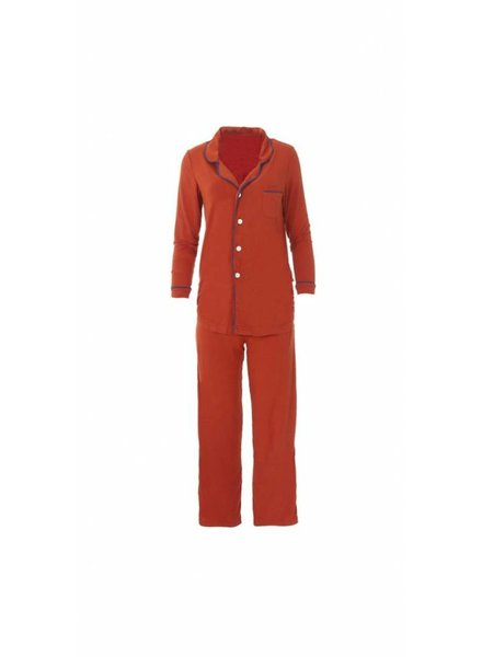 Kickee Solid Collared Pajama Set