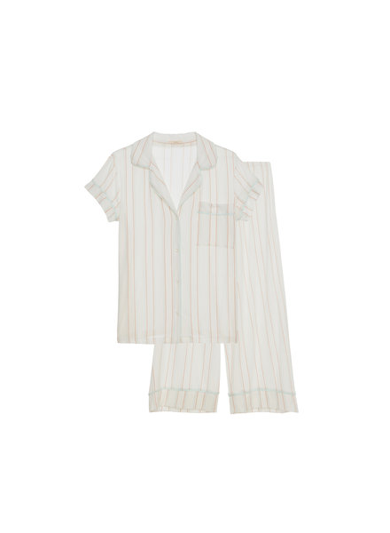 Eberjey Summer Stripes Short Sleeve Crop PJ