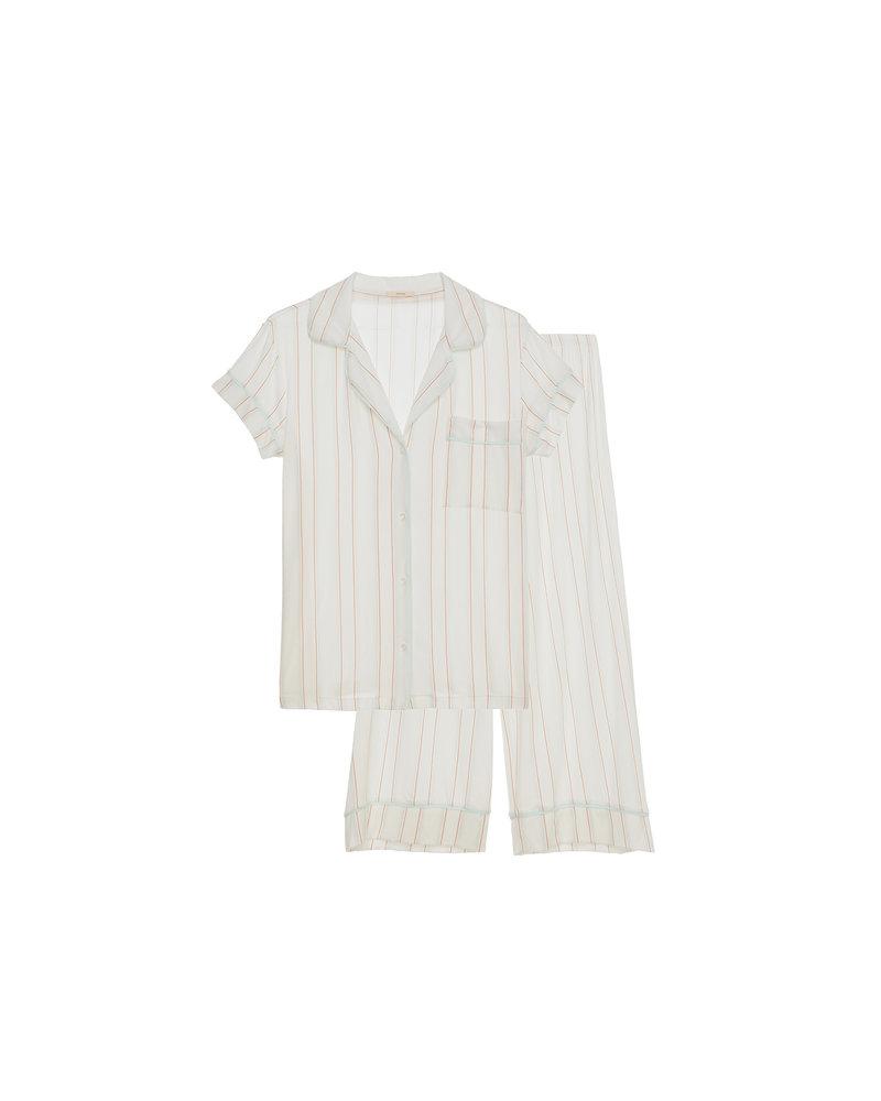 Eberjey Summer Stripes Short Sleeve Crop PJ