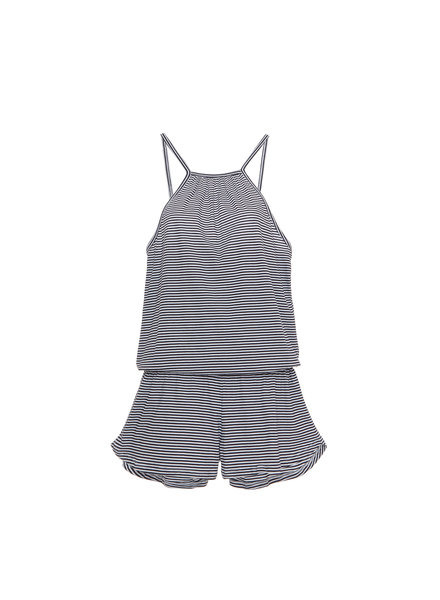 Eberjey Cotton Stripes Halter Teddy
