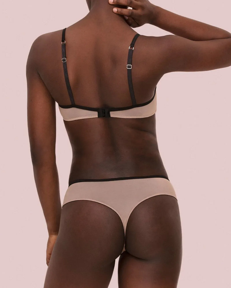Noelle Wolf Mist Embroidered Thong