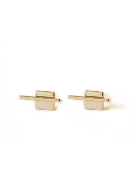 Upper Metal Class Bronze Linear Square Earrings