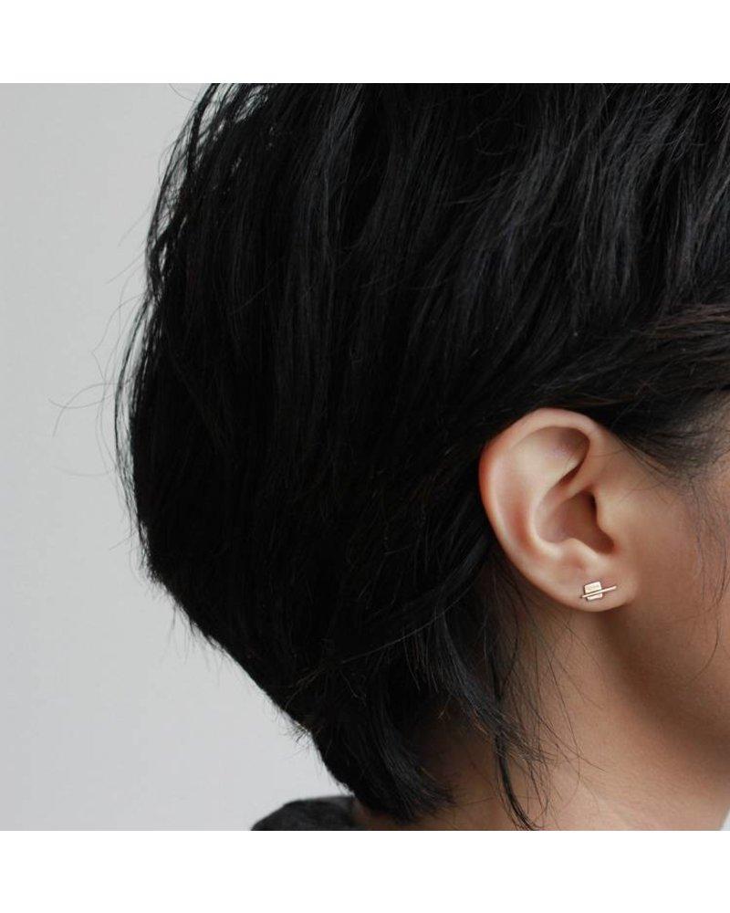 Upper Metal Class Bronze Linear Square Earrings