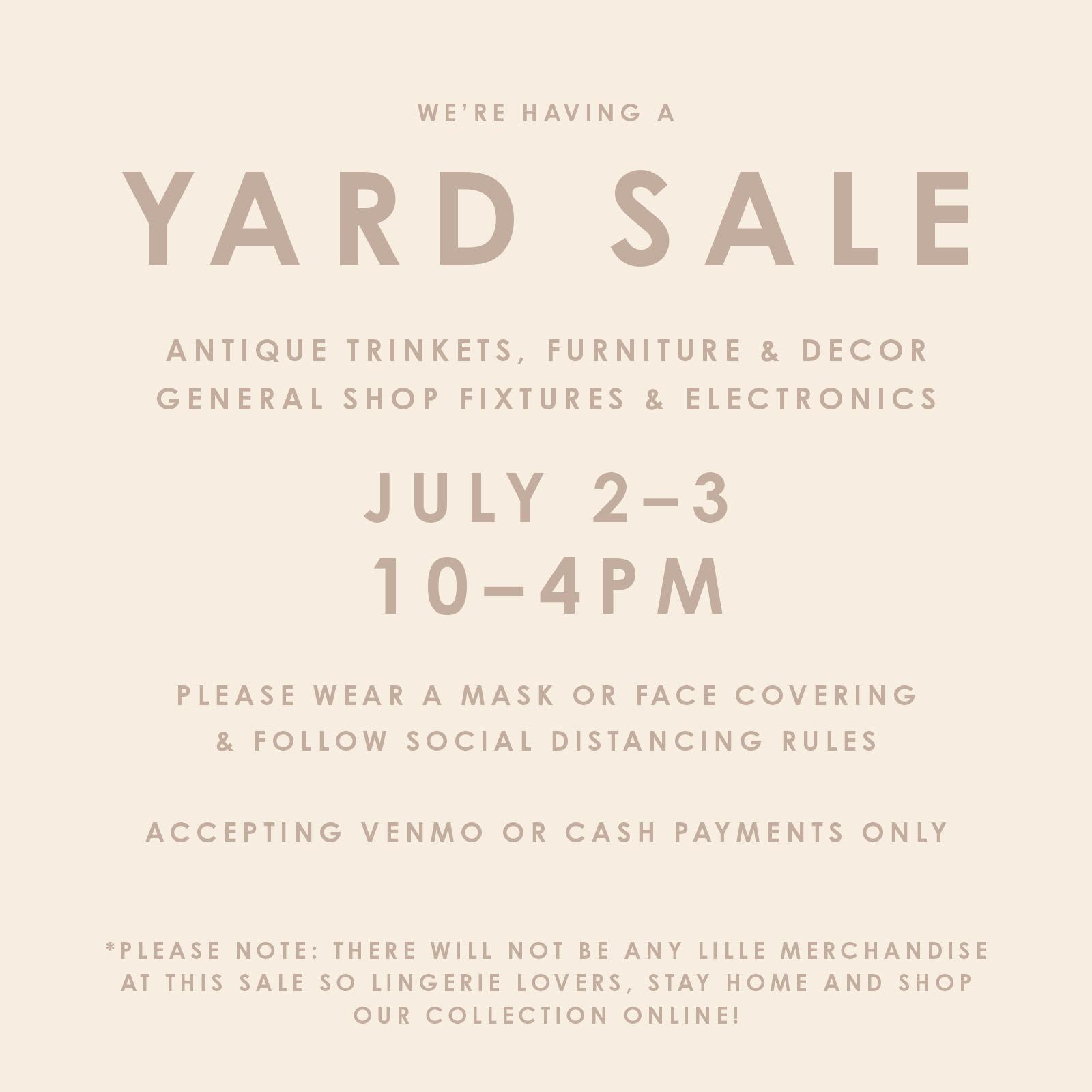 Lille Yard Sale 7/2 - 7/3