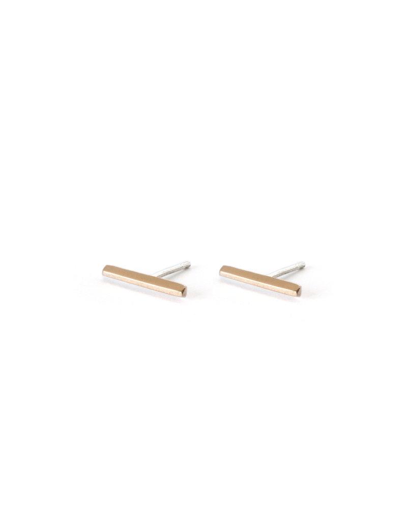 Upper Metal Class Bronze Faceted Bar Earrings