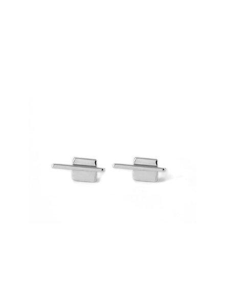 Upper Metal Class Silver Linear Square Earrings