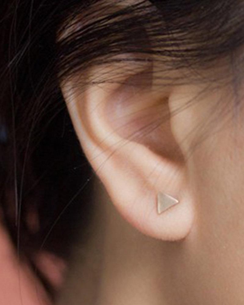 Upper Metal Class Bronze Mini Circle + Triangle Earrings
