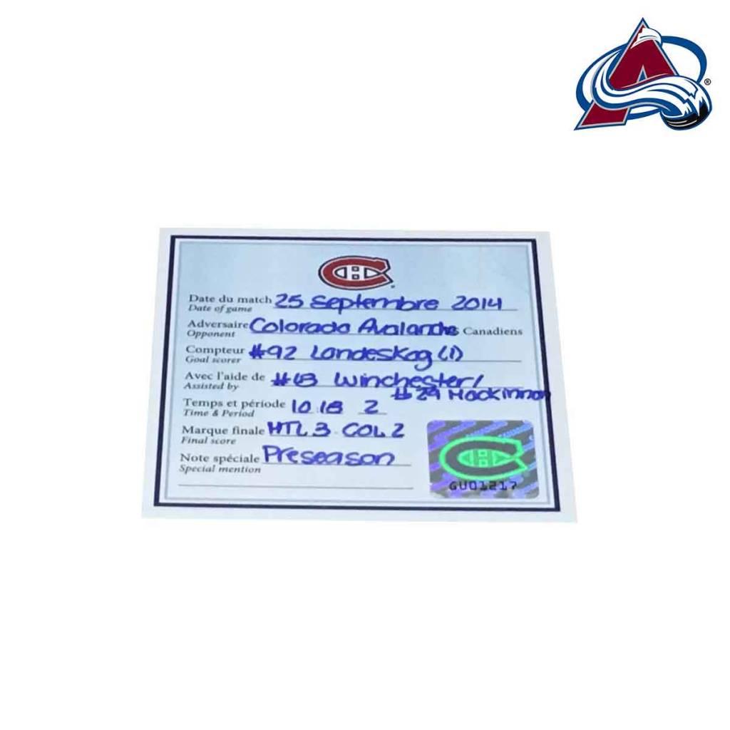 Club De Hockey Gabriel Landeskog Goal Puck (1) 25-Sep-2014 (Pre-Season)