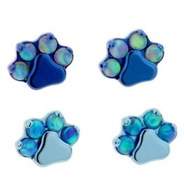 Ti Gem/Opal Paw Print Threadless Pin