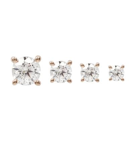 14k RG 2mm Prong Set CZ Threadless End