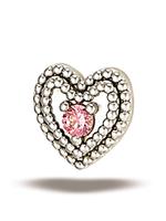14k WG Double Milgrain Heart w/ 1.5mm Stone (5mm) Threadless Pin