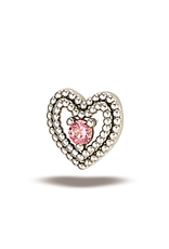 14k WG Double Milgrain Heart w/ 1.5mm Stone (5mm) Threadless Pin