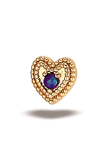 14k RG Double Milgrain Heart w/ 1.5mm Stone (5mm) Threadless Pin