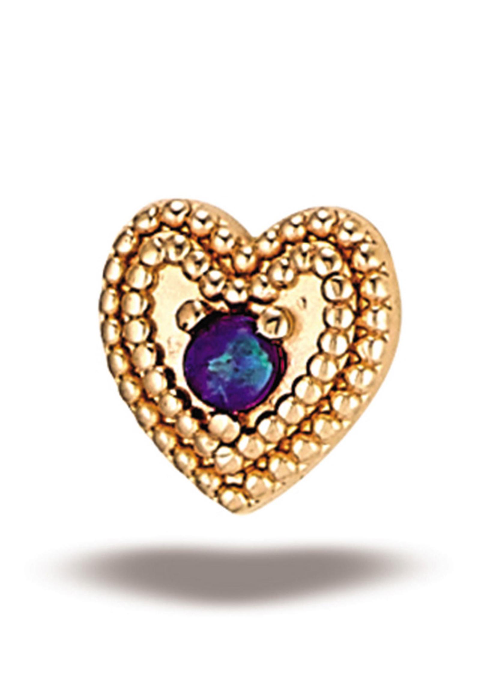 14k RG Double Milgrain Heart w/ 1.5mm Stone (5mm) Threadless Pin