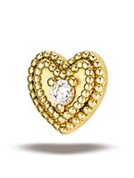 14k YG Double Milgrain Heart w/ 1.5mm Stone (5mm) Threadless Pin