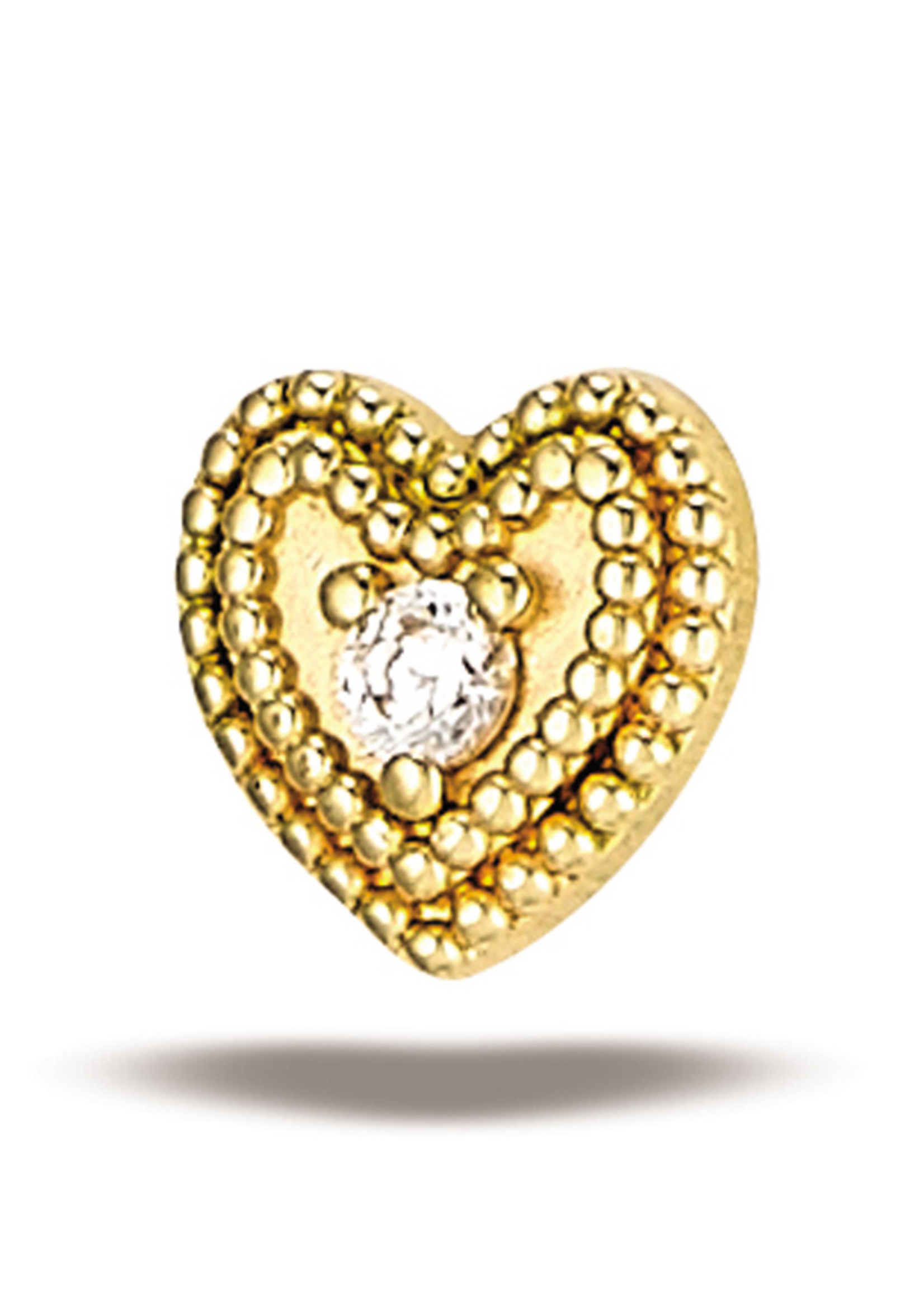 14k YG Double Milgrain Heart w/ 1.5mm Stone (5mm) Threadless Pin