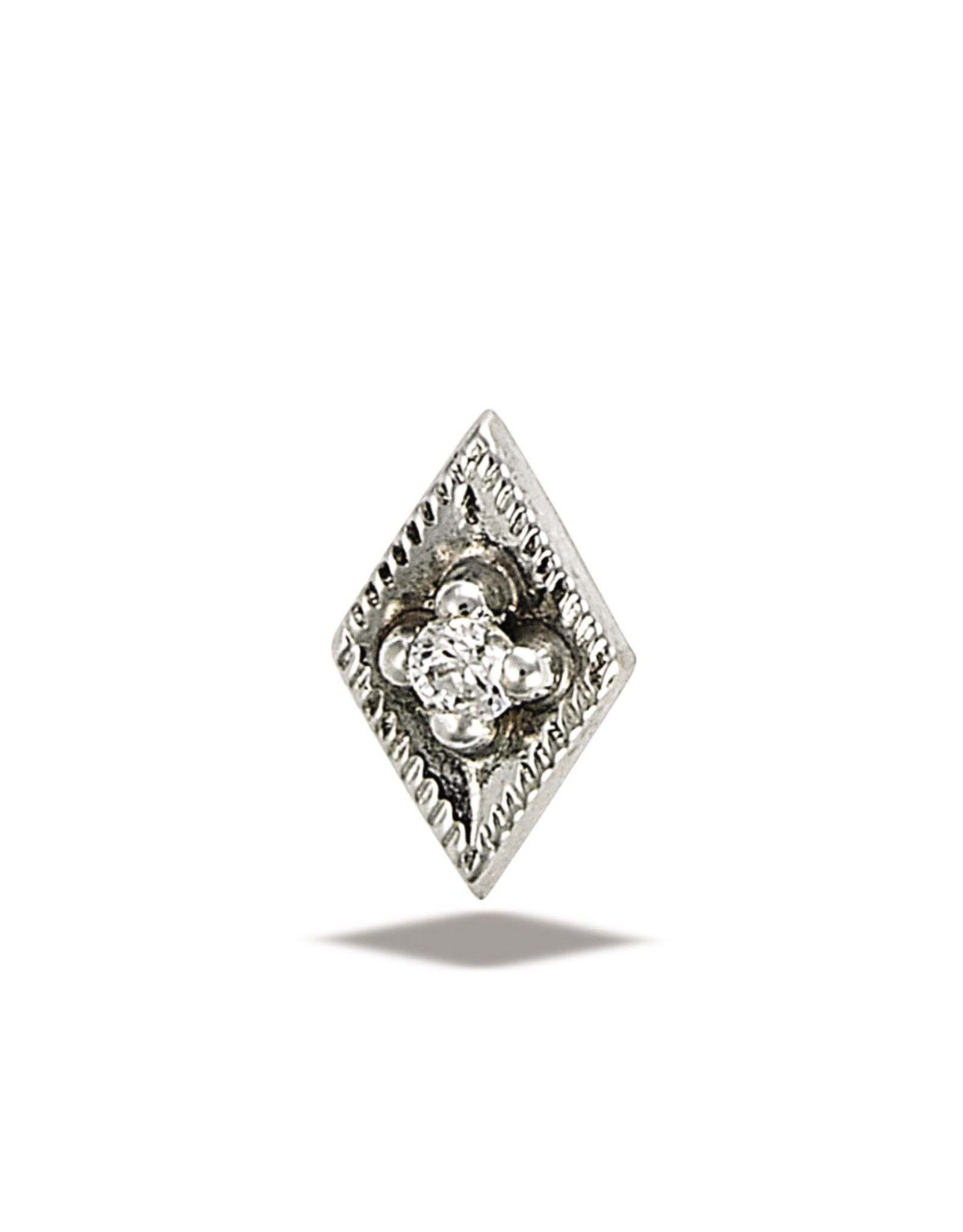 14k WG Rhombus Diamond 1.5mm Stone Threadless End