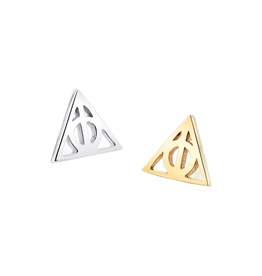 14k YG Deathly Hallows (4.5mm) 14g Threaded End