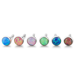 2.5mm Titanium Bezel Set Opal Ends