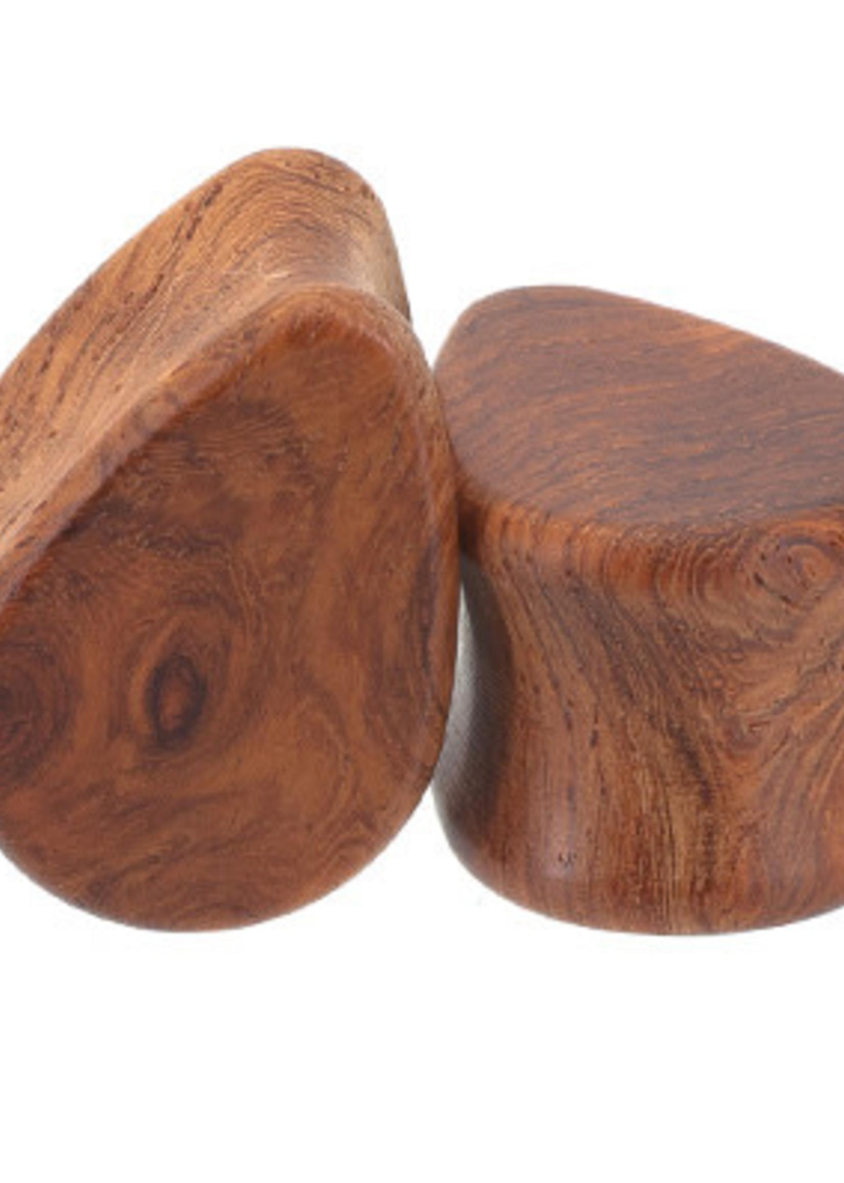 0g Amboyna Burl Wood Teardrops Plugs