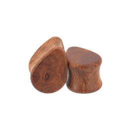 0g Amboyna Burl Wood Teardrops Plugs