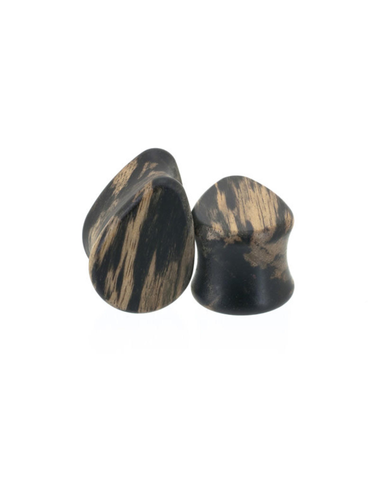 0g Tiger Ebony Wood Teardrops