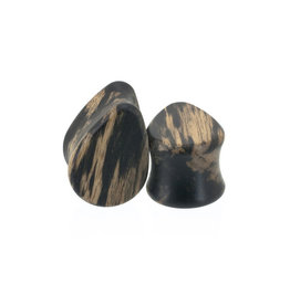 0g Tiger Ebony Wood Teardrops