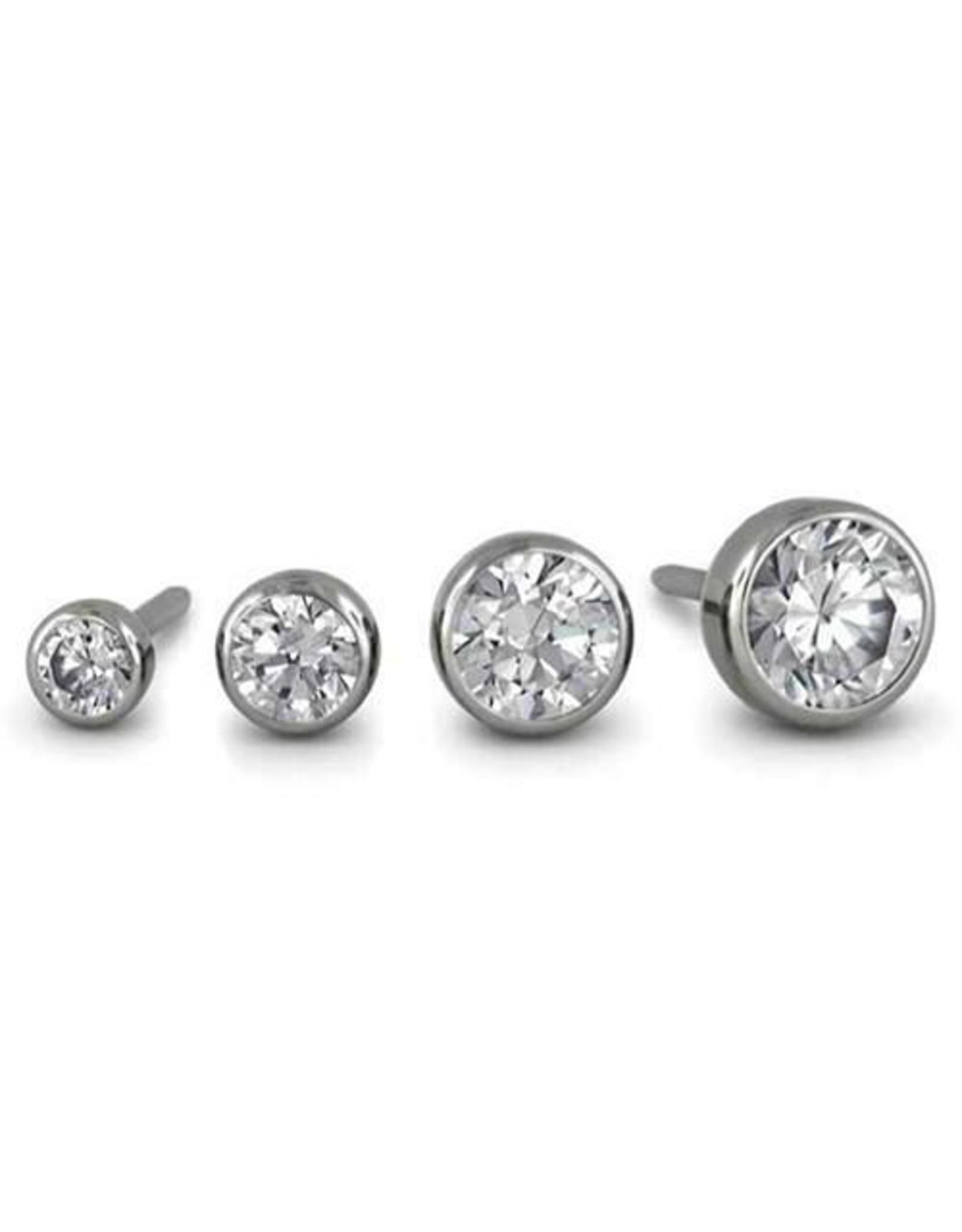 3mm Titanium Bezel Set Gem Ends