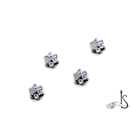 16g Ti Gem/Opal Paw Print Threaded End