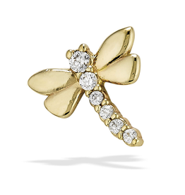14k YG Sparkly Dragonfly (8.25mm) Threadless Pin
