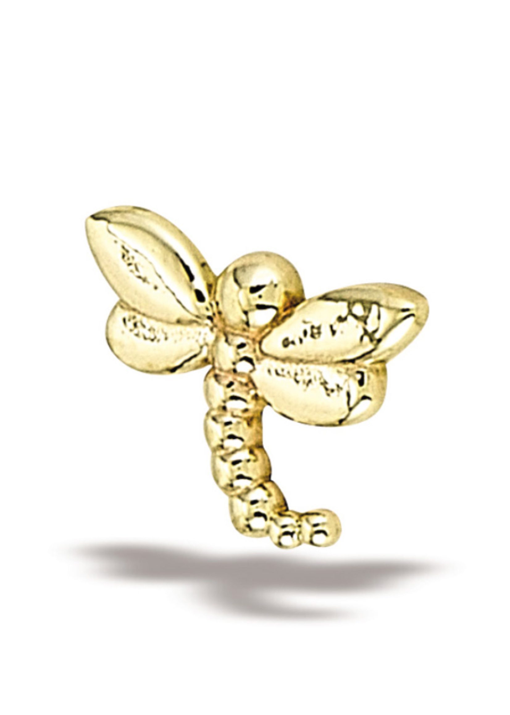 14k YG LG Dragonfly (7.5mmx5.5) Threadless Pin