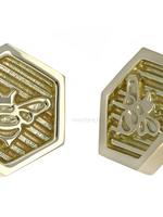 18k WG Hexagon Bee Threadless Pin