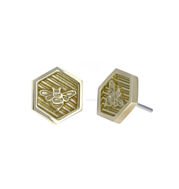 18k WG Hexagon Bee Threadless Pin
