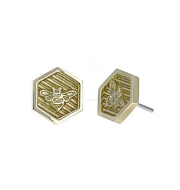 18k RG Hexagon Bee Threadless Pin