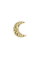 14k YG Hammered Cresent Moon