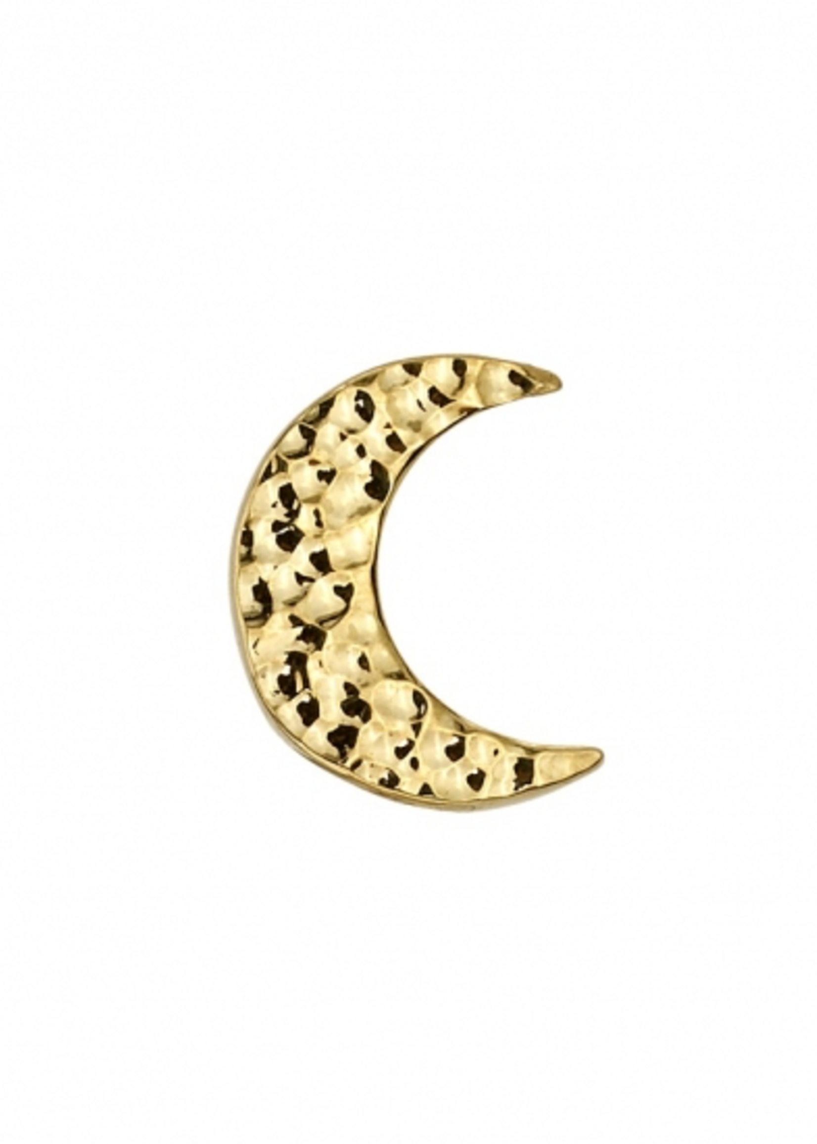 14k YG Hammered Crescent Moon