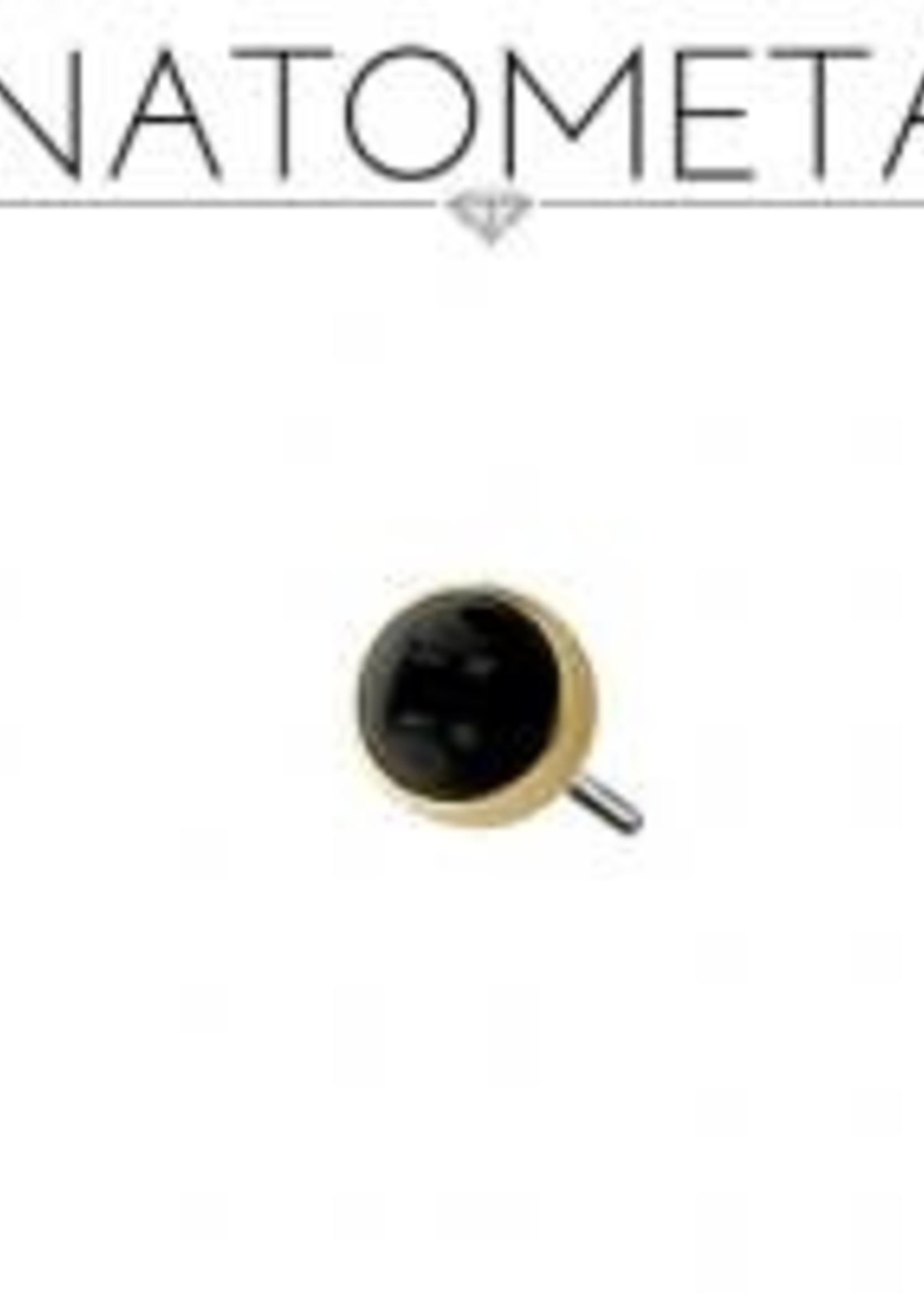 18k 4mm YG Bezel Threadless Pin
