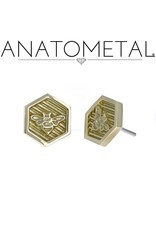 18k YG Hexagon Bee Threadless Pin