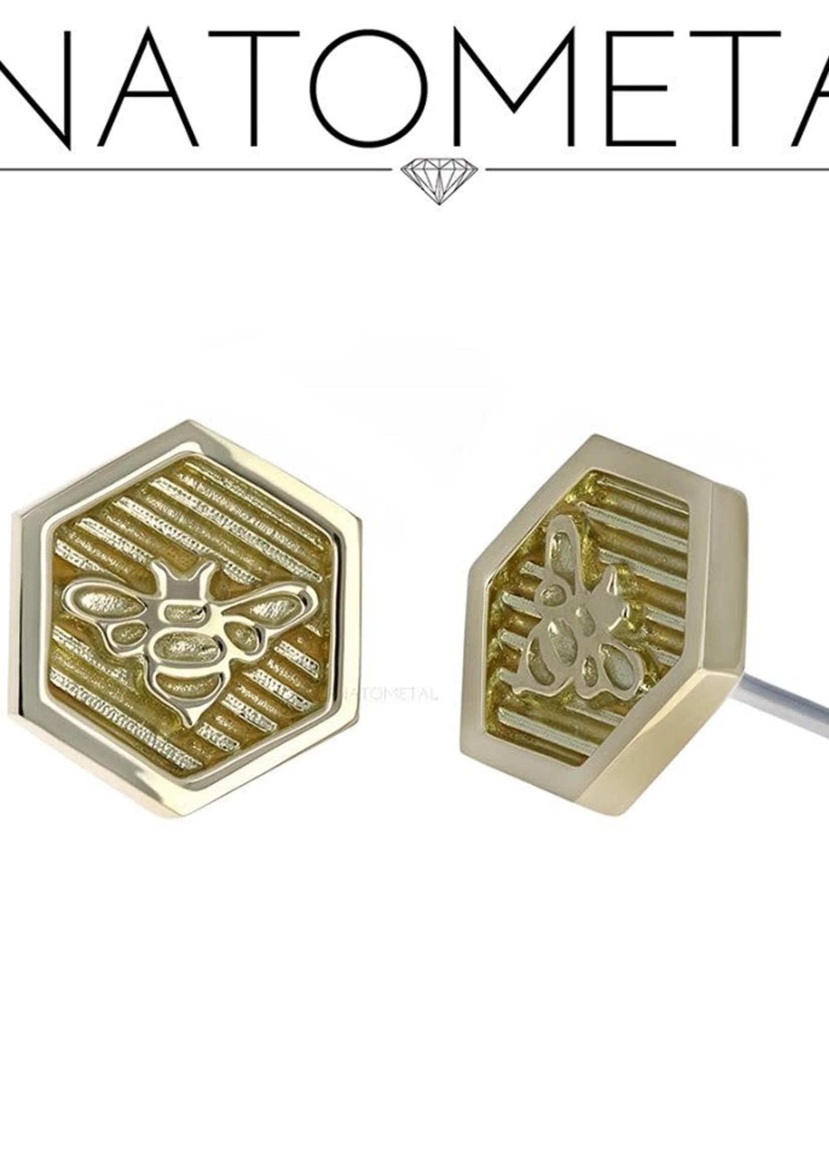 18k YG Hexagon Bee Threadless Pin