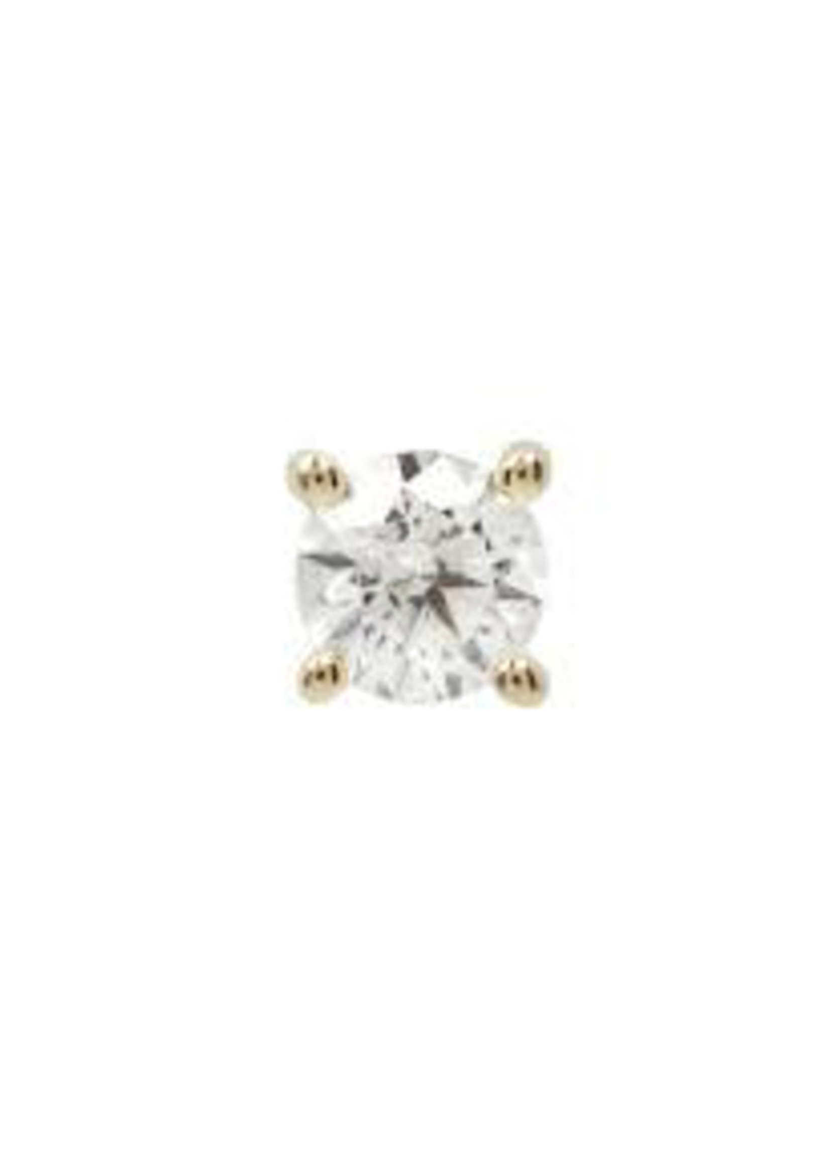 14k YG 2.5mm Prong Set CZ Threadless End